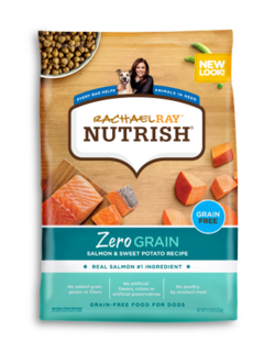 Rachael Ray Nutrish Zero Grain salmon and sweet potato grain-free dry dog food with images of dry kibble and uncooked salmon and sweet potatoes