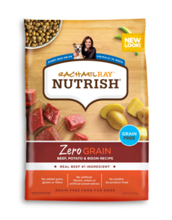 Rachael Ray Nutrish Zero Grain beef, potato, and bison grain-free dry dog food with images of dry kibble and uncooked beef and potatoes