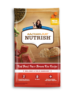 Rachael Ray Nutrish Real Beef, Pea and Brown Rice dry dog food with images of beef, brown rice, and green peas on the bag