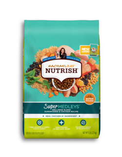 Turquoise and chartreuse Rachael Ray Nutrish Super Medleys Chicken Wellness Blend dry dog food with images of beans, chicken meat, salmon and green beans on the bag