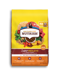 Yellow and orange Rachael Ray Nutrish Super Medleys Beef Vitality Blend dry dog food with images of carrots, beef, squash, and green beans on the bag