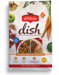 Rachael Ray Nutrish Dish Super Premium beef and brown rice dry dog food with images of cooked and uncooked beef, brown rice, carrots, green peas, potatoes, and a green apple