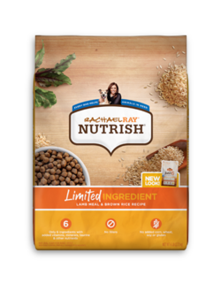 Rachael Ray Nutrish Limited Ingredient lamb meal and brown rice dry dog food with images of dry kibble and uncooked brown rice