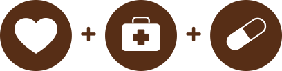 a food bowl icon + a medical supply icon + a pill icon